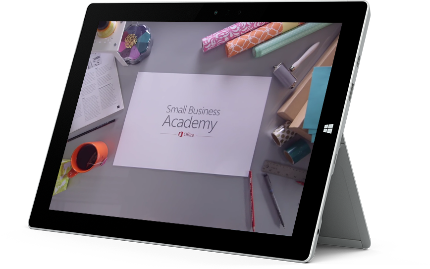 A tablet with the Office Small Business Academy logo