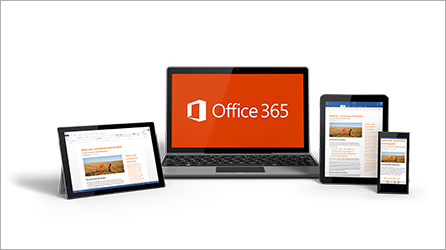 Office 365 featured on a laptop, tablet, iPad, and phone