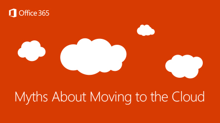 Title page of eBook, Myths About Moving to the Cloud
