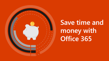 Portion of infographic with 'Save time and money with Office 365'