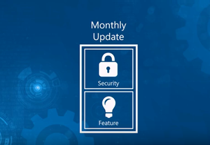 Monthly security and feature updates diagram, watch an in-page video about changes to how Office receives updates