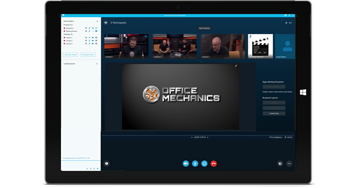 Windows tablet showing a Skype Meeting Broadcast