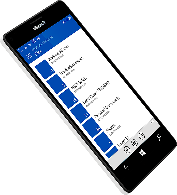 A smartphone displaying a list of files on the screen
