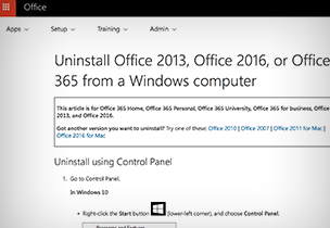 Office Help page, get instructions for uninstalling Office 365