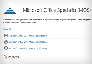 Microsoft Office Specialist certification page, learn about certification exams for becoming a Microsoft Office Specialist