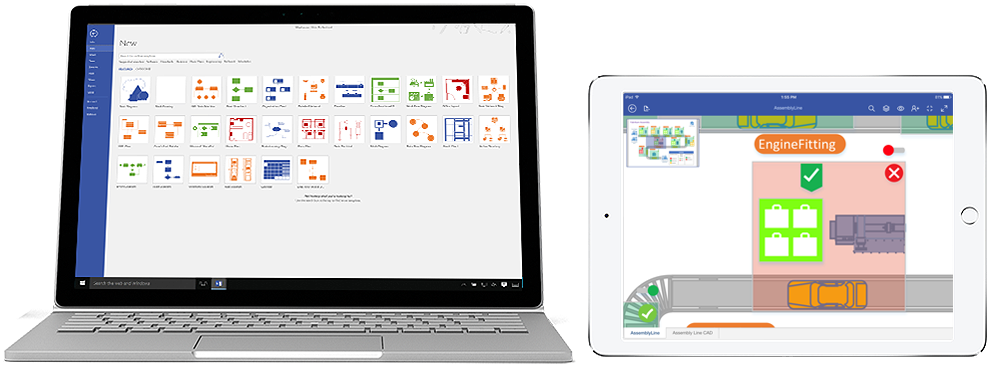 Visio Pro for Office 365 diagrams shown on a laptop and iPad.