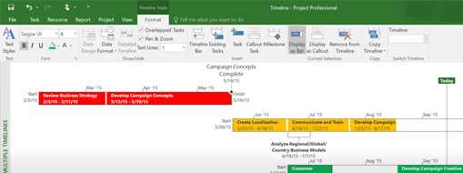 A project file open in Project Professional, learn what's new in Project 2016