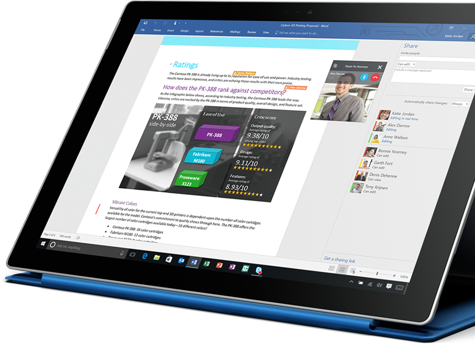 Surface tablet featuring a document on screen