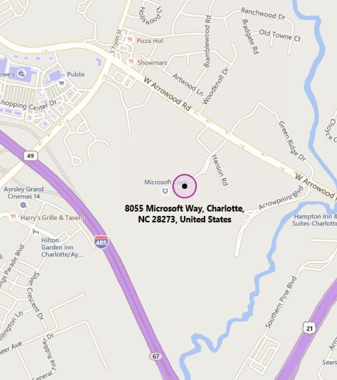 Map of MTC Charlotte