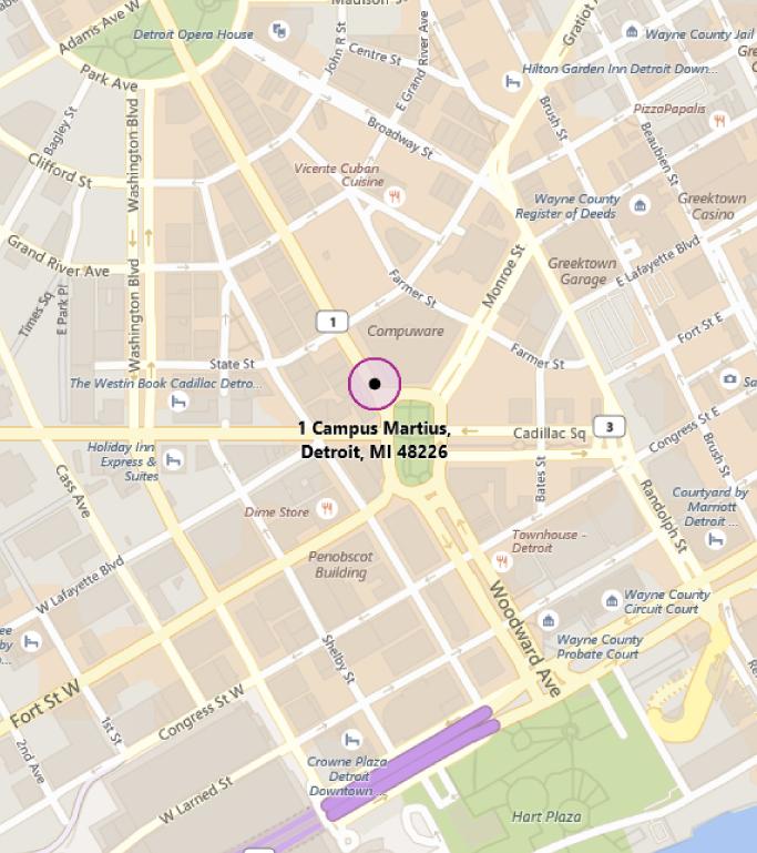 Map of MTC Detroit