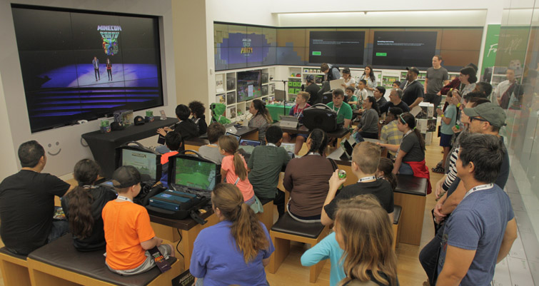 minecon earth party at microsoft store