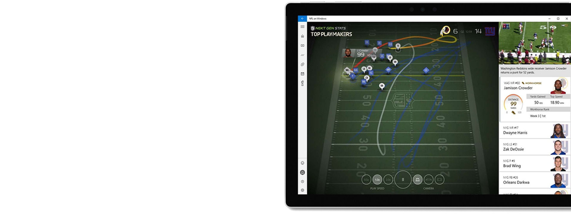NFL gameplay on Surface