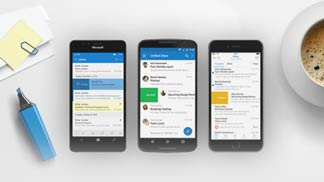 Windows Phone, iPhone, and Android phone with Outlook app on screens