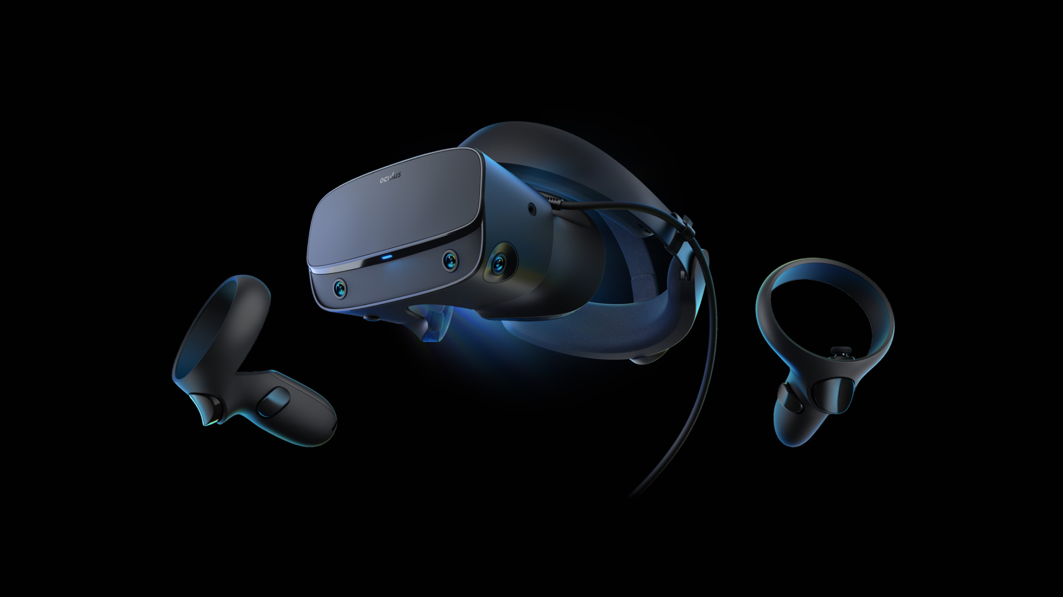 Side view image of Oculus Rift S Virtual Reality System, featuring the controllers and headset.