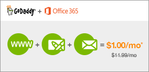 Screenshot of GoDaddy website, learn about custom domain, website, and email from Office 365