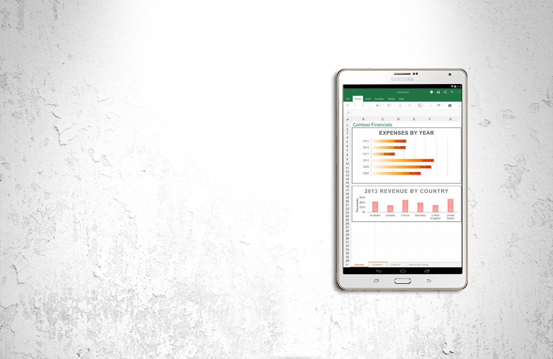 Excel on Android tablet