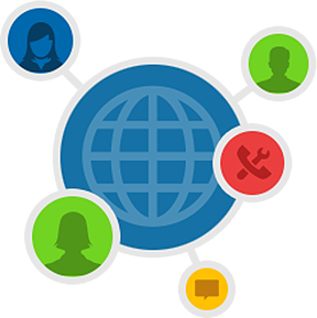 Large icon of an outline globe, connected to icons of people, tools, and conversations.