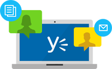 Icon of Yammer logo on a laptop screen, with conversations bubbles for messages and files.