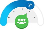 Icon of a dial with icon of people inside it, pointing to Yammer logo midway on dial.