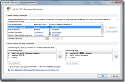 With Language Packs 2010, you can easily choose the language in which you want to edit
