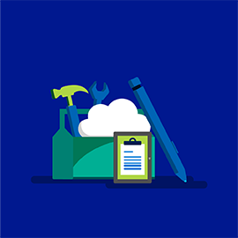 Illustration of a toolbox holding a hammer, wrench, cloud, pencil, and clipboard
