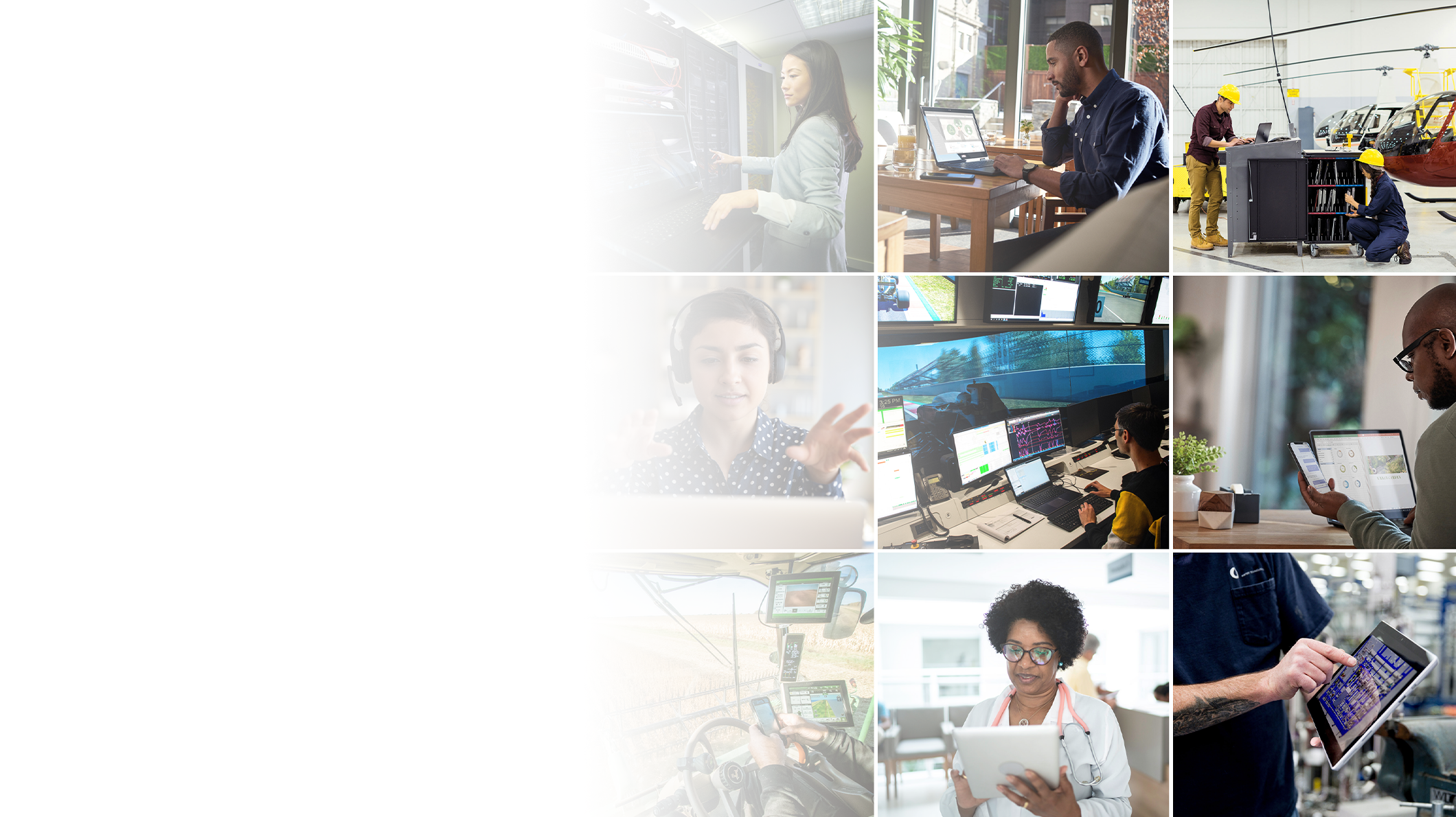 Multiple images of individuals who are using technology in different job settings.