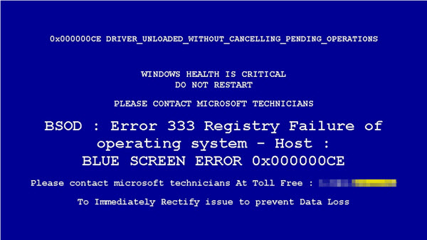 Fakebsod lock screen image that locks like a Windows error blue screen