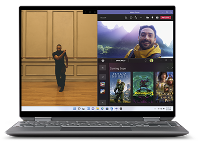 A laptop screen neatly displaying a photo, a live Teams video chat, and the Xbox Game Store windows in a Snap Assist grid