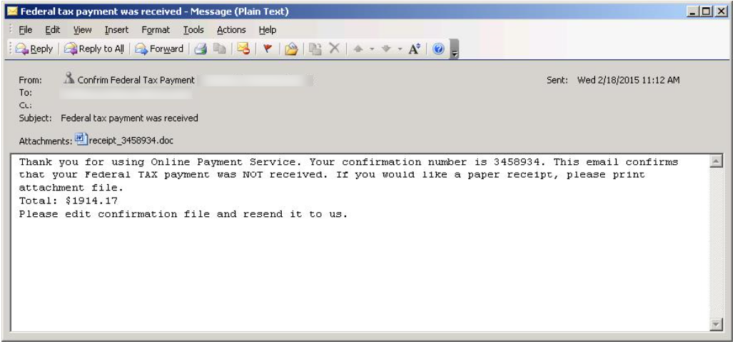 Spam email payment