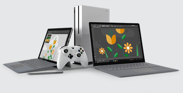 Illustration of Surface, Xbox, and, pen at Microsoft Store.