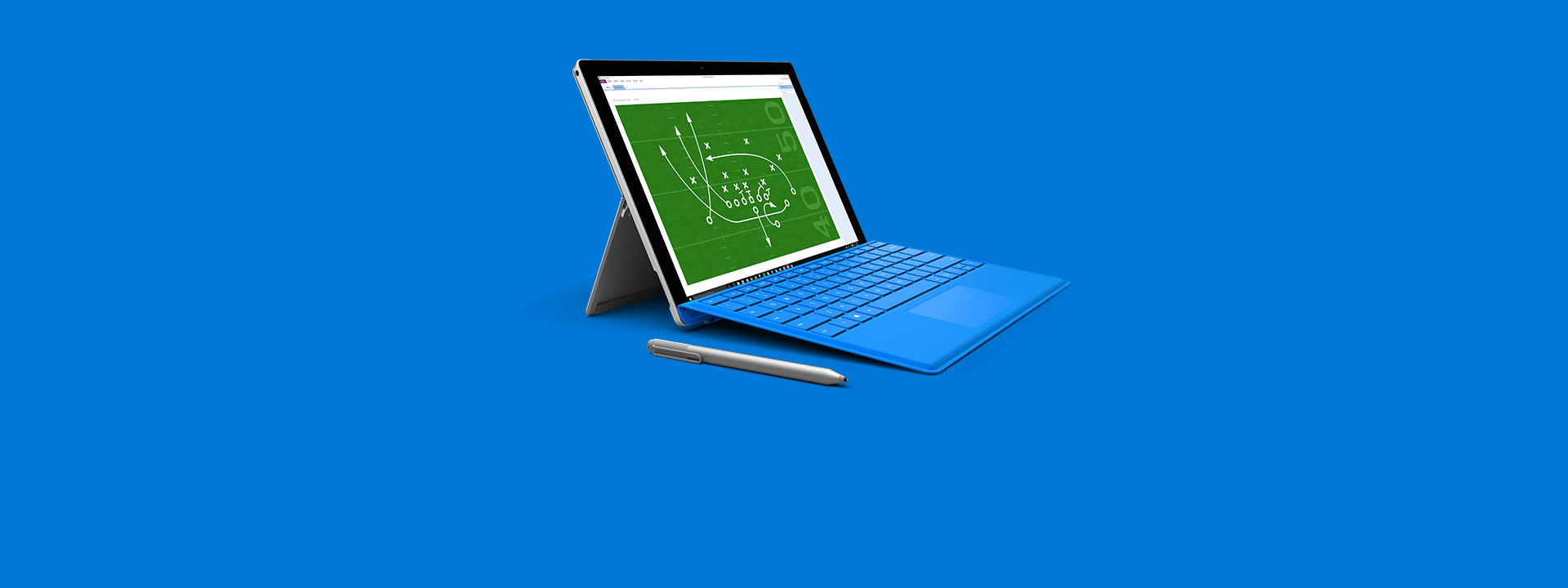 A Surface Pro 4 with the screen showing a diagrammed football play.