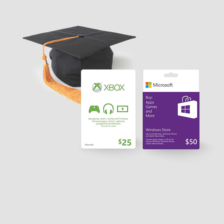 Celebrate graduation with Windows Store and Xbox gift cards.