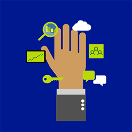 Illustration of a hand surrounded by small pictures of a cloud, people, comment, key, chart, and magnifying glass