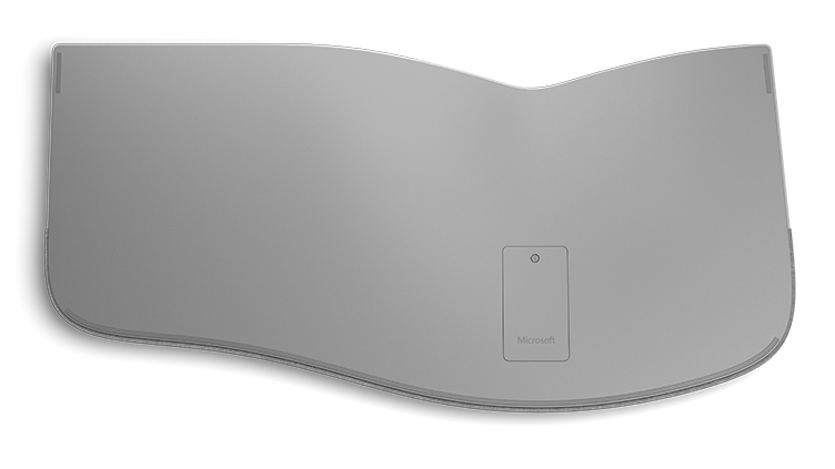 Detail of Surface Ergonomic keyboard as seen from the bottom