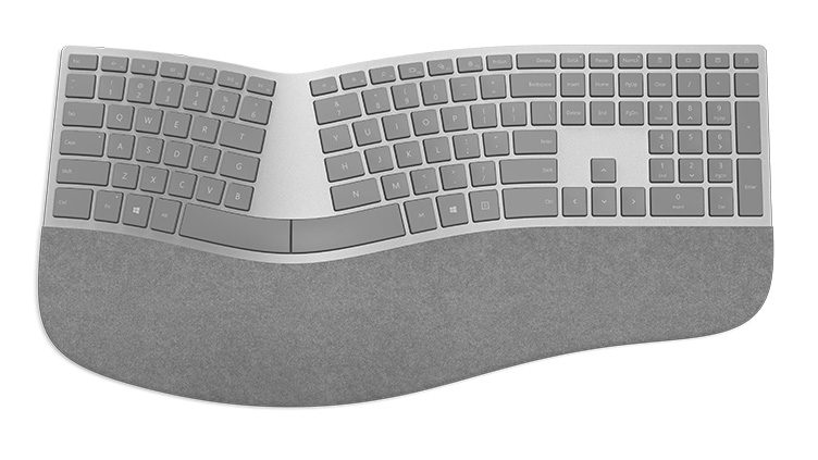 Detail of Surface Ergonomic keyboard as seen from the top