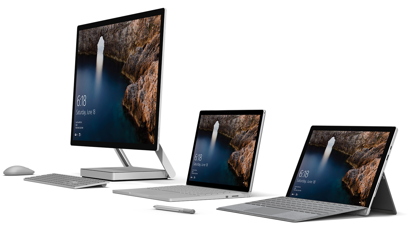 Surface Studio, Surface Book and Surface Pro 4 side by side