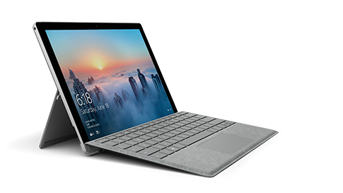 Surface Pro 4 with signature keyboard open and facing right