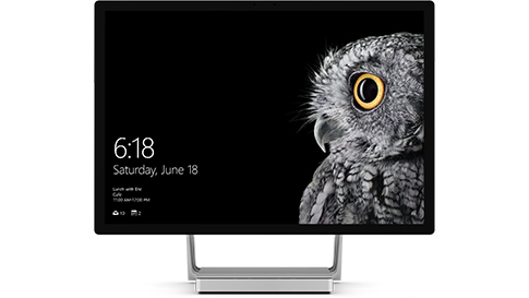 Surface Studio with Windows 10 lock screen