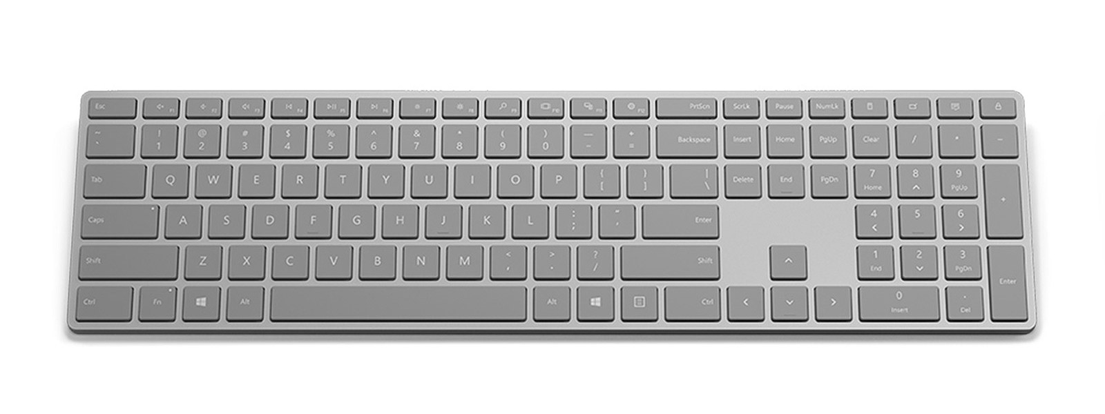 Surface keyboard as seen from the top
