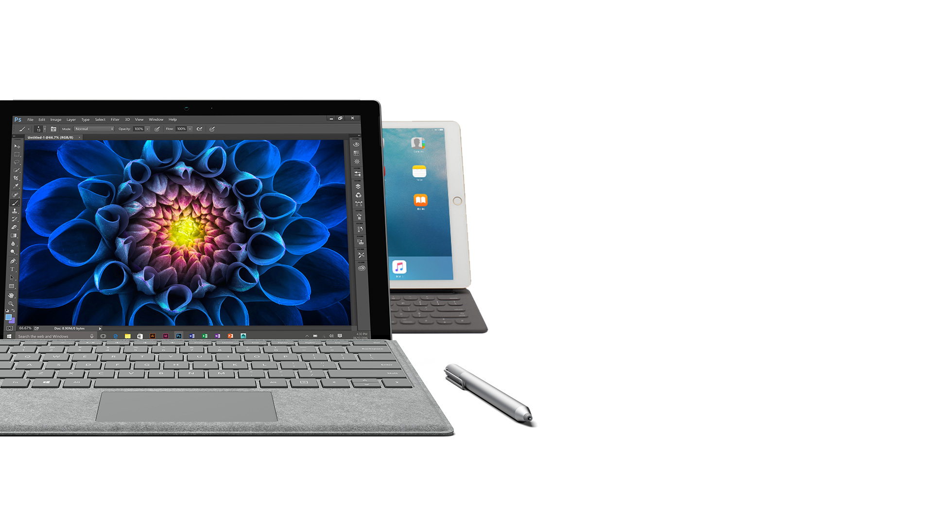 Surface Pro 4 facing front with Surface Pen next to it with an Ipad Pro peeking out from behind it