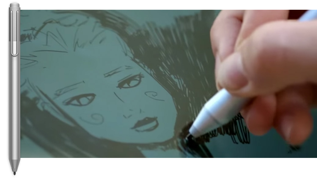 Surface Pen upright with a detail image of a man's hand drawing on screen with Surface Pen
