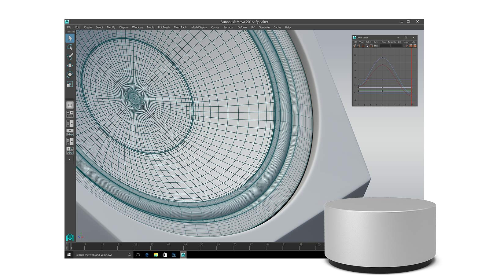 Maya app open on the Surface Pro 4 display with Surface Dial in front of it