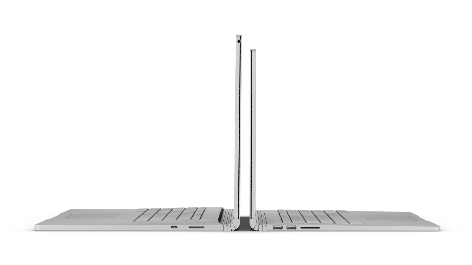 A side view of a 15 inch and a 13.5-inch Surface Book 2 that are open and placed back to back to show the height differential.