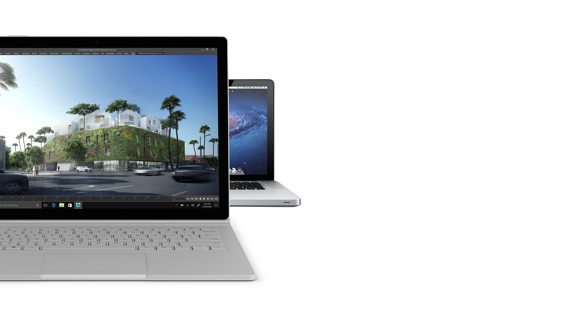 Surface Book 2 shown in front of MacBook Pro