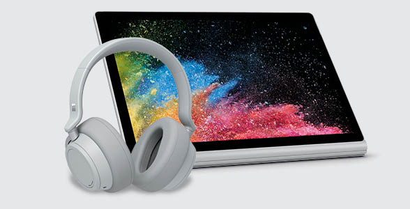 Microsoft's Surface Book 2 device and Surface Headphones