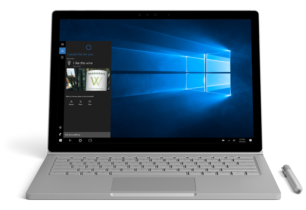 Surface Book facing front with Cortana active on the screen