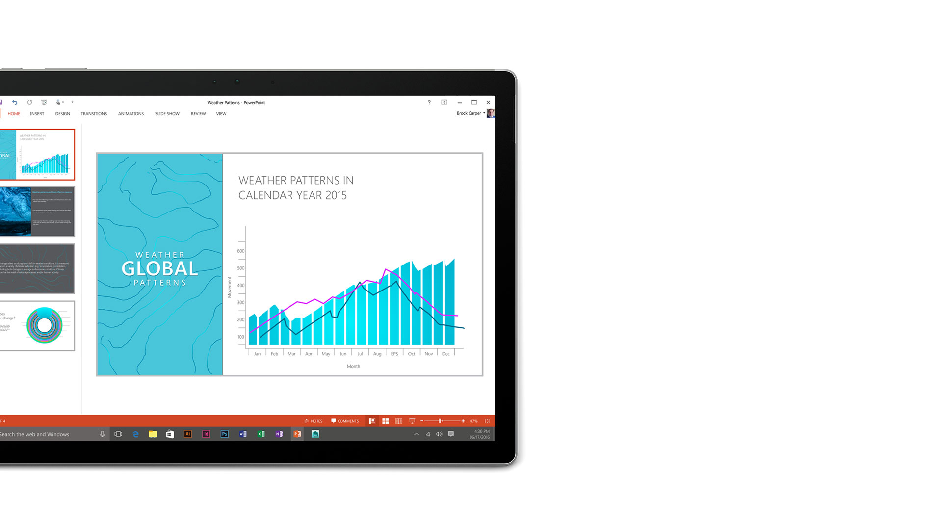 Microsoft PowerPoint open on the Surface Book display