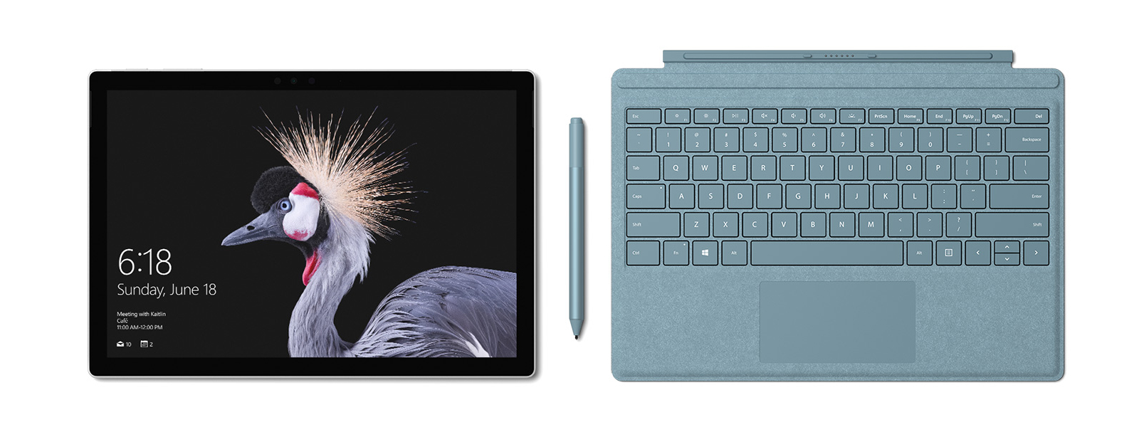 Image of Surface Pro with Surface Pro Signature Type Cover and Surface Pen in new Limited Edition Aqua. Surface Pen accompanies.