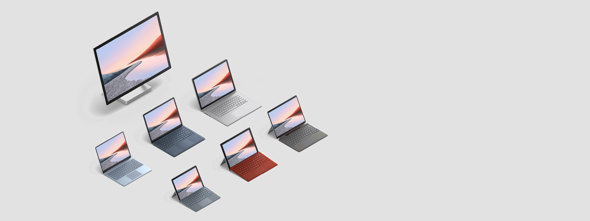 The full family of Surface devices in a variety of colors.