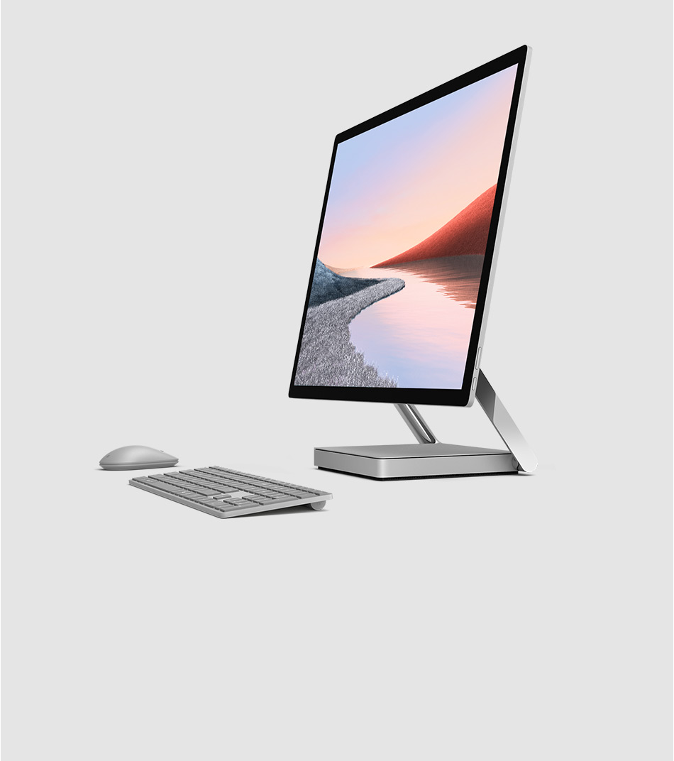 Surface Studio 2 with accessories in both studio and upright modes
